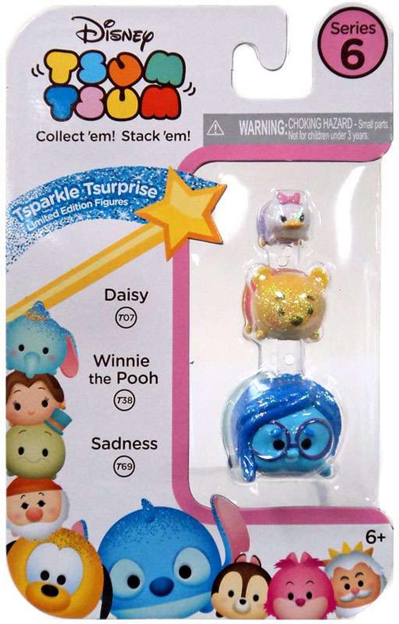 Tinker Disney Tsum Tsum Glitter Pastel Set of 6 Exclusive Donald Mermaid Pooh