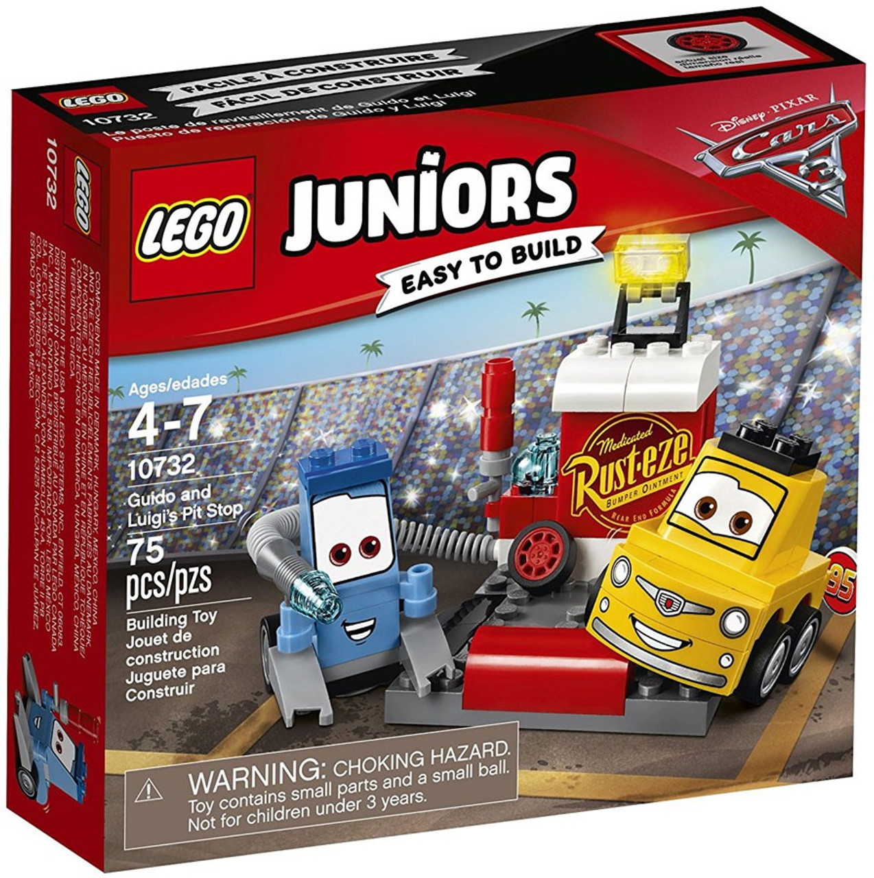 Lego Disney Pixar Cars Cars 3 Juniors Guido And Luigis Pit Stop Set 10732 Toywiz
