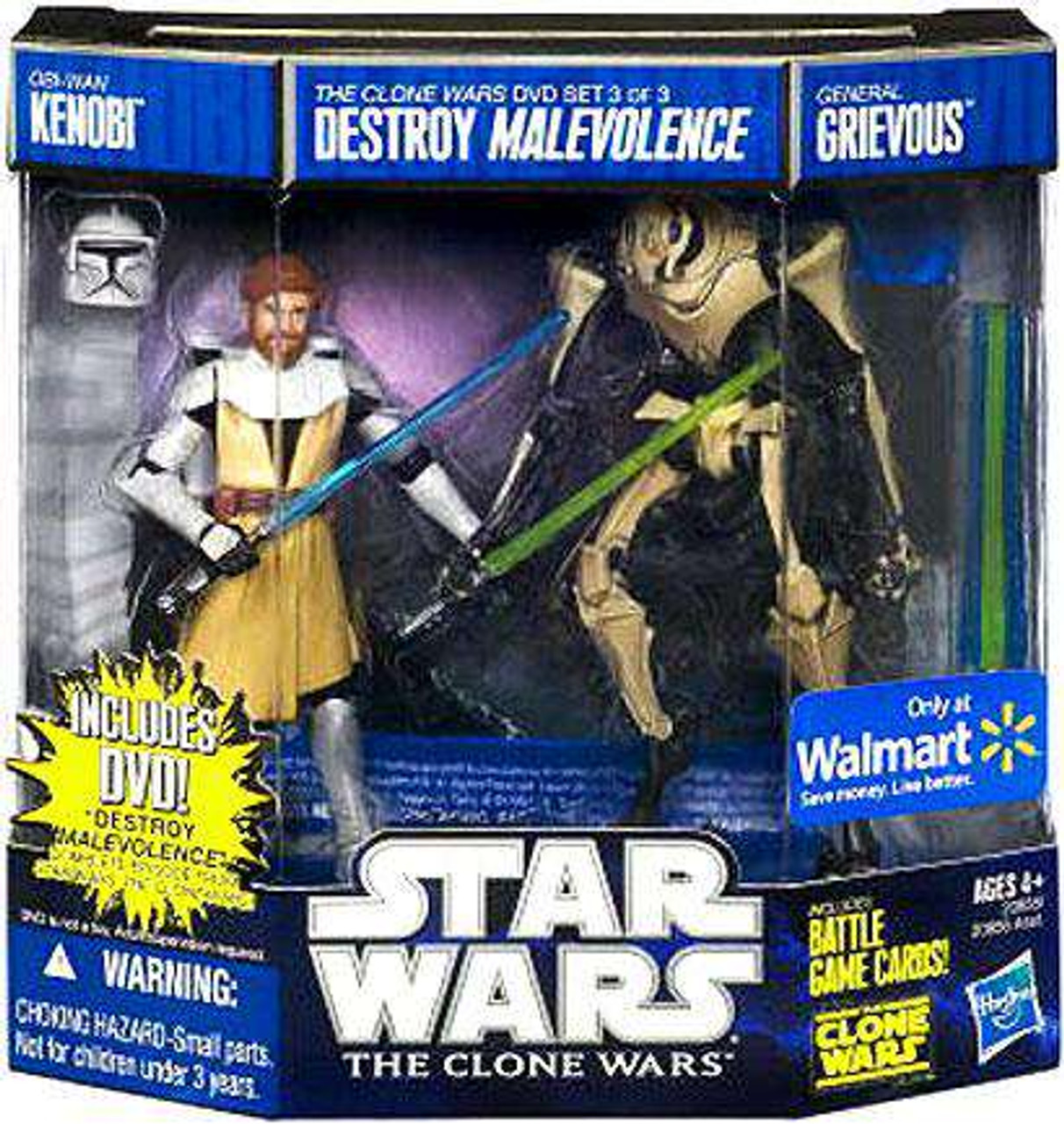 Star Wars The Clone Wars Obi Wan Kenobi General Grievous Exclusive 3 75 Action Figure Dvd 2 Pack 3 Destroy Malevolence Hasbro Toys Toywiz