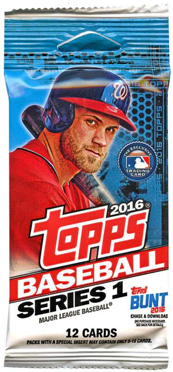Mlb 2016 Topps Baseball Cards Series 1 Trading Card Pack Toywiz