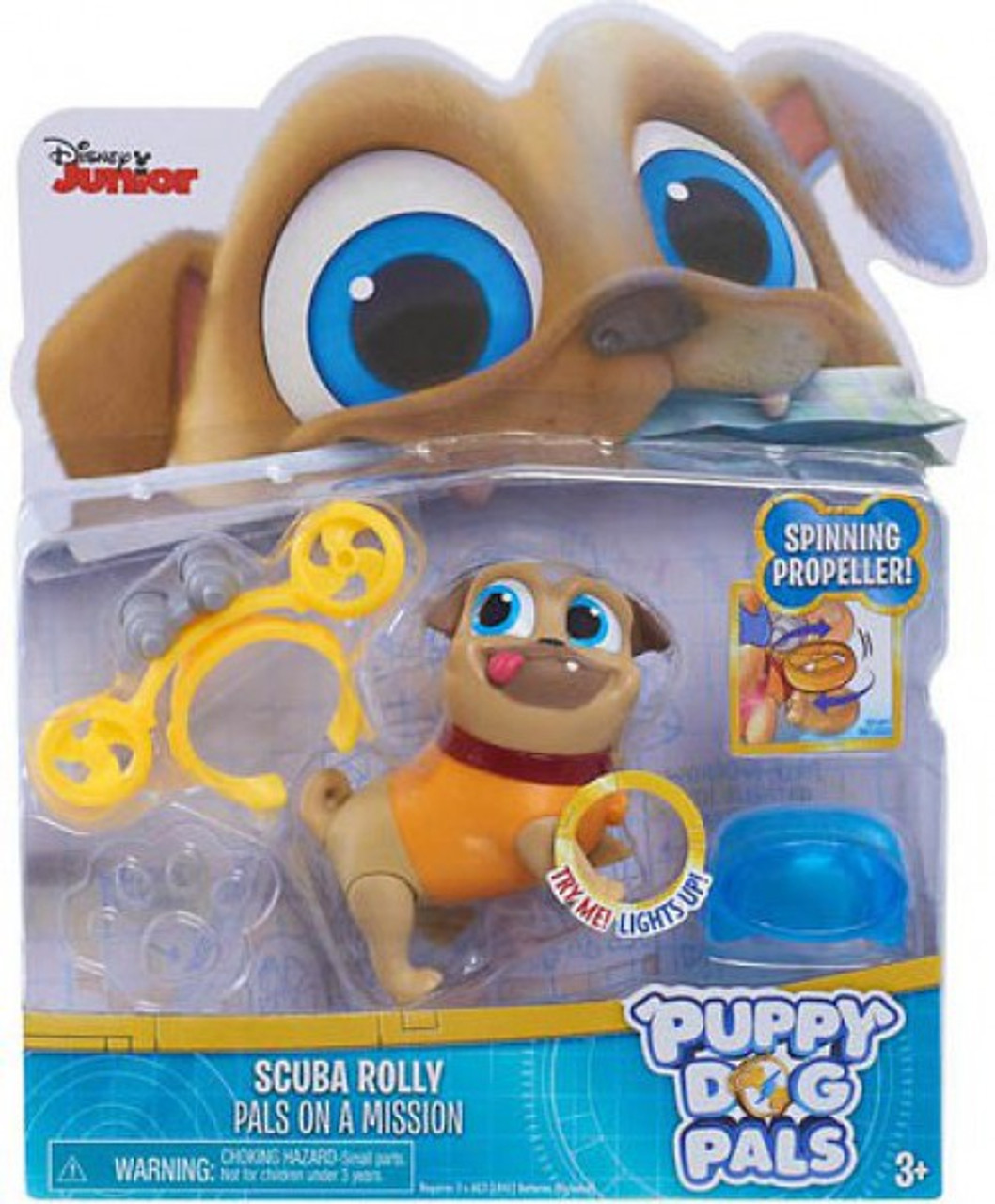Disney Junior Puppy Dog Pals Light Up Pals On A Mission Scuba Rolly Action Figure Spinning Propeller Just Play Toywiz