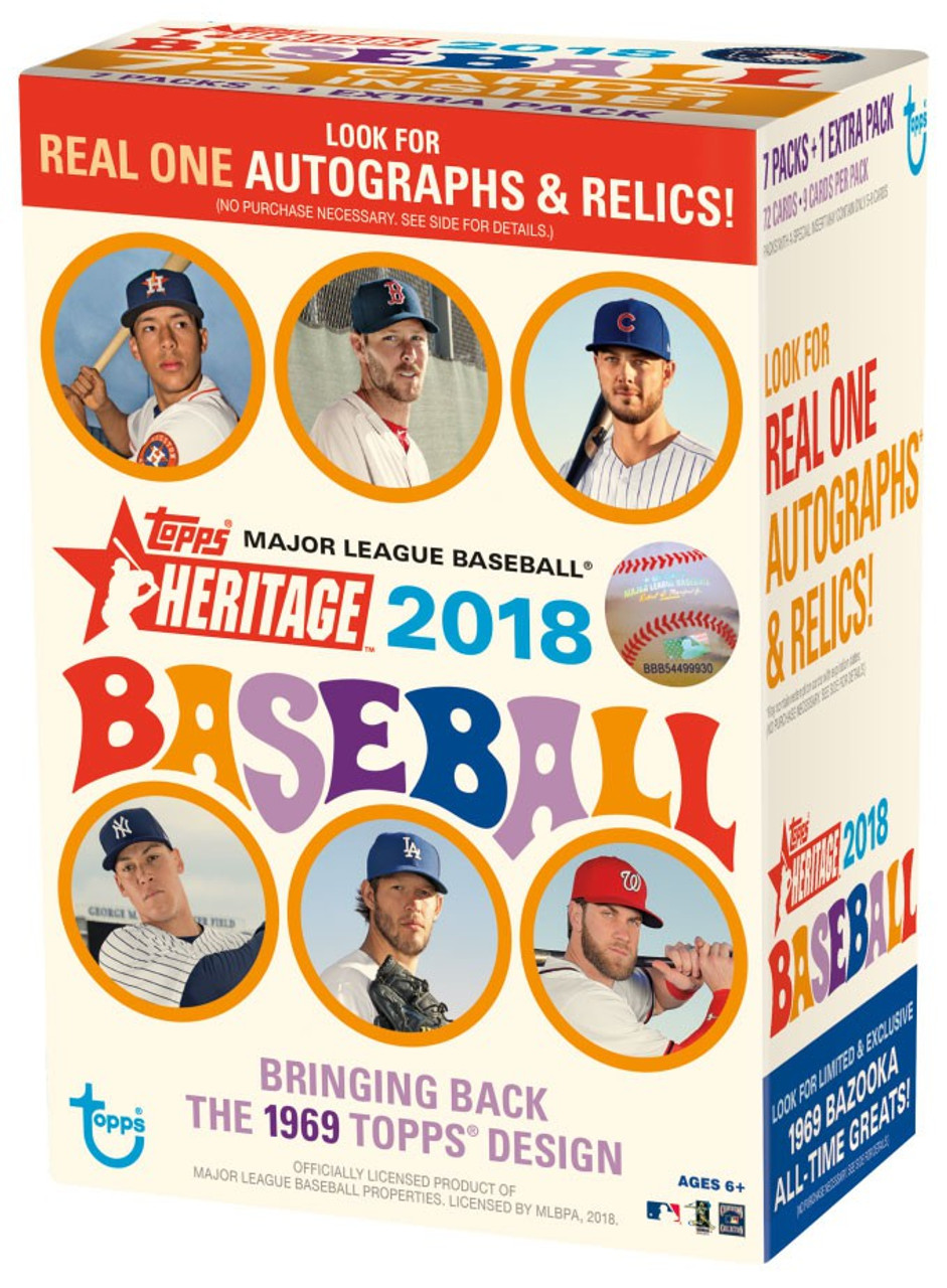 Mlb 2018 Topps Heritage Trading Card Blaster Box 8 Packs