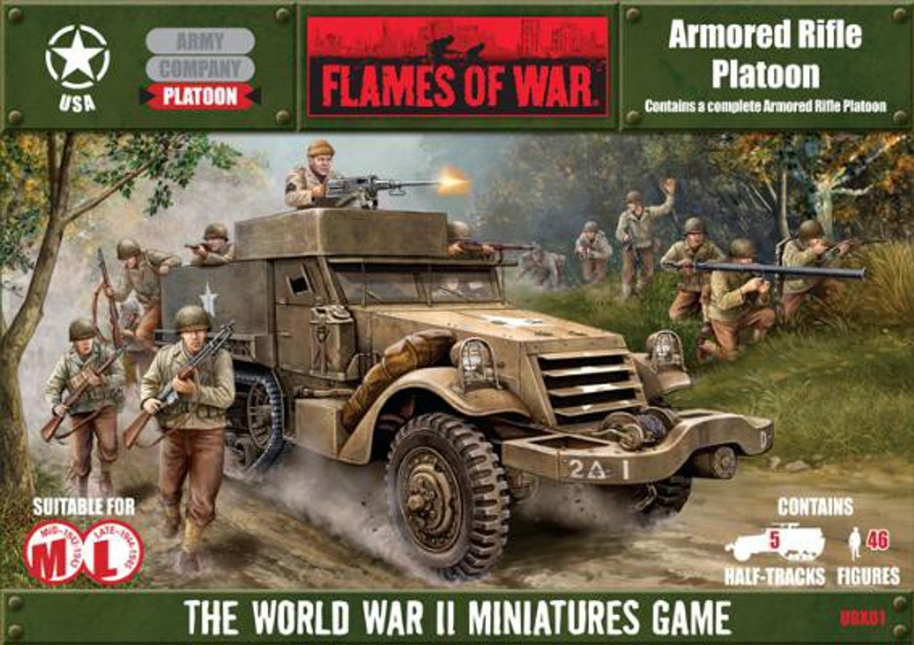 Flames of War United States Boxed Set Armored Rifle Platoon Miniatures UBX01