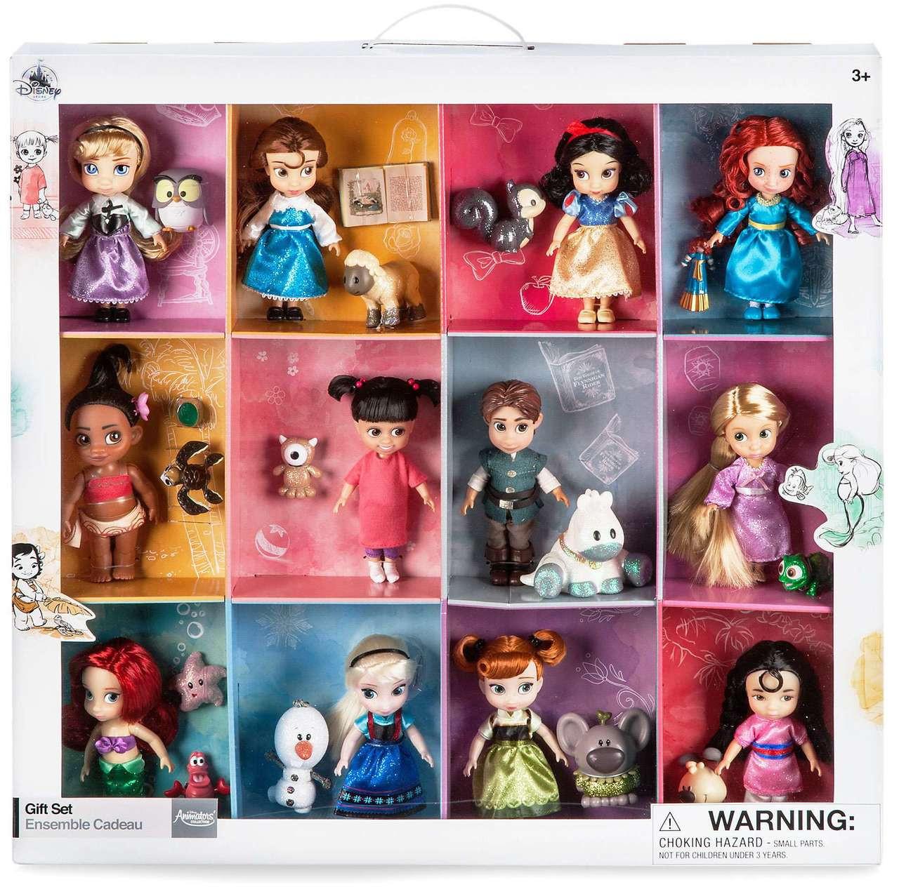 Disney Princess Mini Animator Doll 6 Piece Toy Playset Ariel Tinkerbell moana
