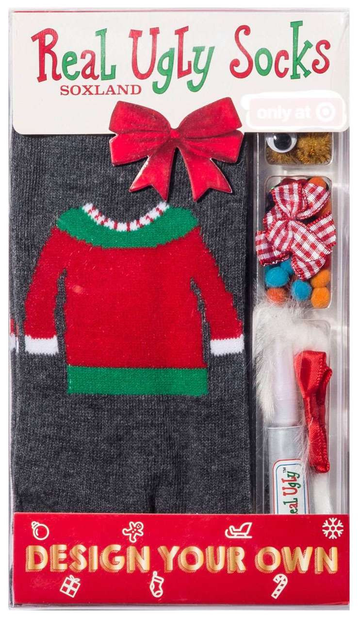 Real Ugly Socks Holiday Sweater Design Your Own Ugly Exclusive Socks  [Ladies 9- 11 / Mens 10-13]
