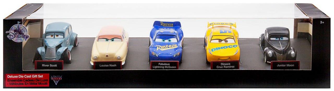 Disney Pixar Cars Cars 3 River Scott Louise Nash Fabulous Lightning Mcqueen Dinoco Cruz Ramirez Junior Moon Exclusive Deluxe Diecast Car 5 Pack