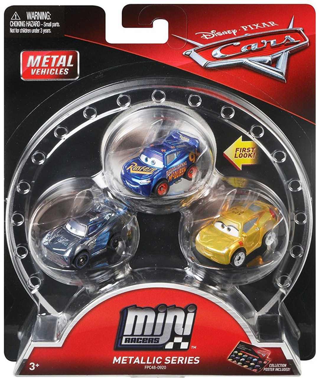 Disney Pixar Cars Die Cast Mini Racers Metallic Fabulous Lightning