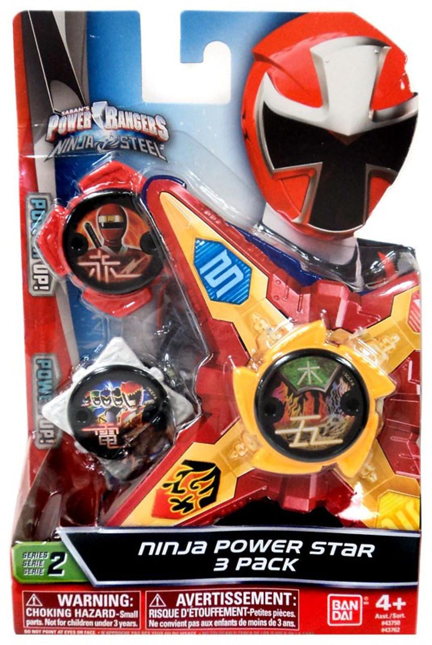 Power Rangers Ninja Steel Series 2 White, Red Yellow Ninja Power Stars  3-Pack Bandai America - ToyWiz