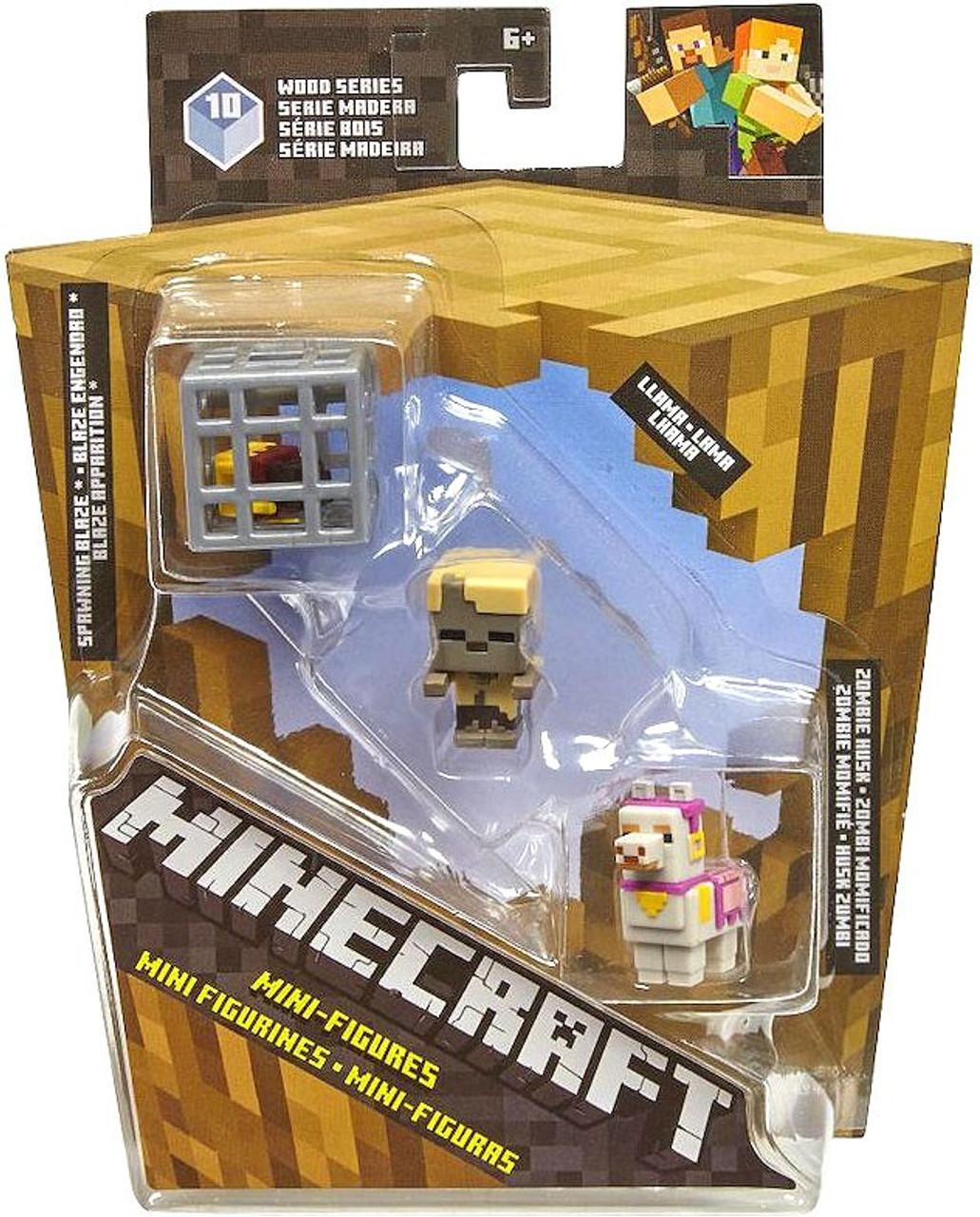 Minecraft Wood Series 10 Spawning Blaze, Llama, & Zombie Husk Mini Figure  3-Pack