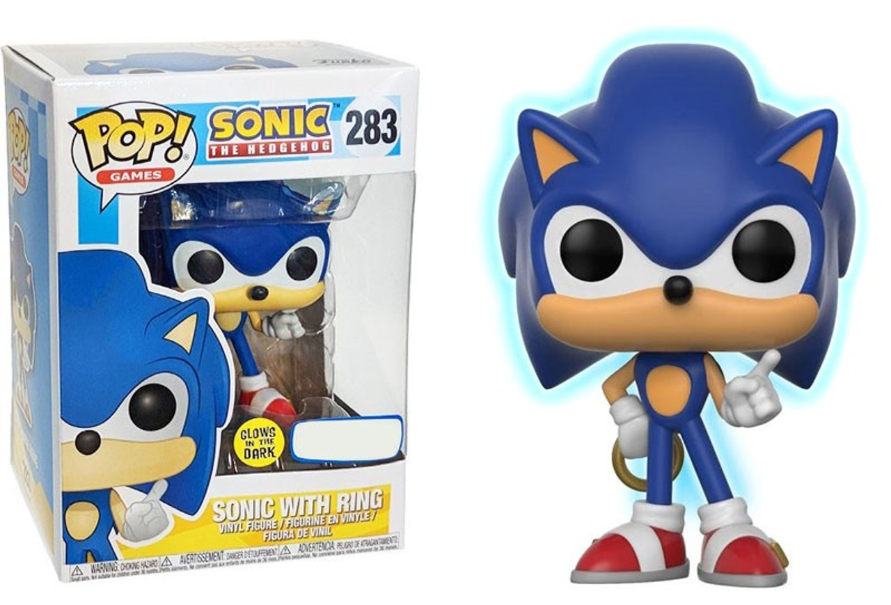 2b48e4d9d4a Funko Sonic The Hedgehog Funko POP Games Sonic with Ring Exclusive Vinyl  Figure 283 Glow-in-the-Dark - ToyWiz