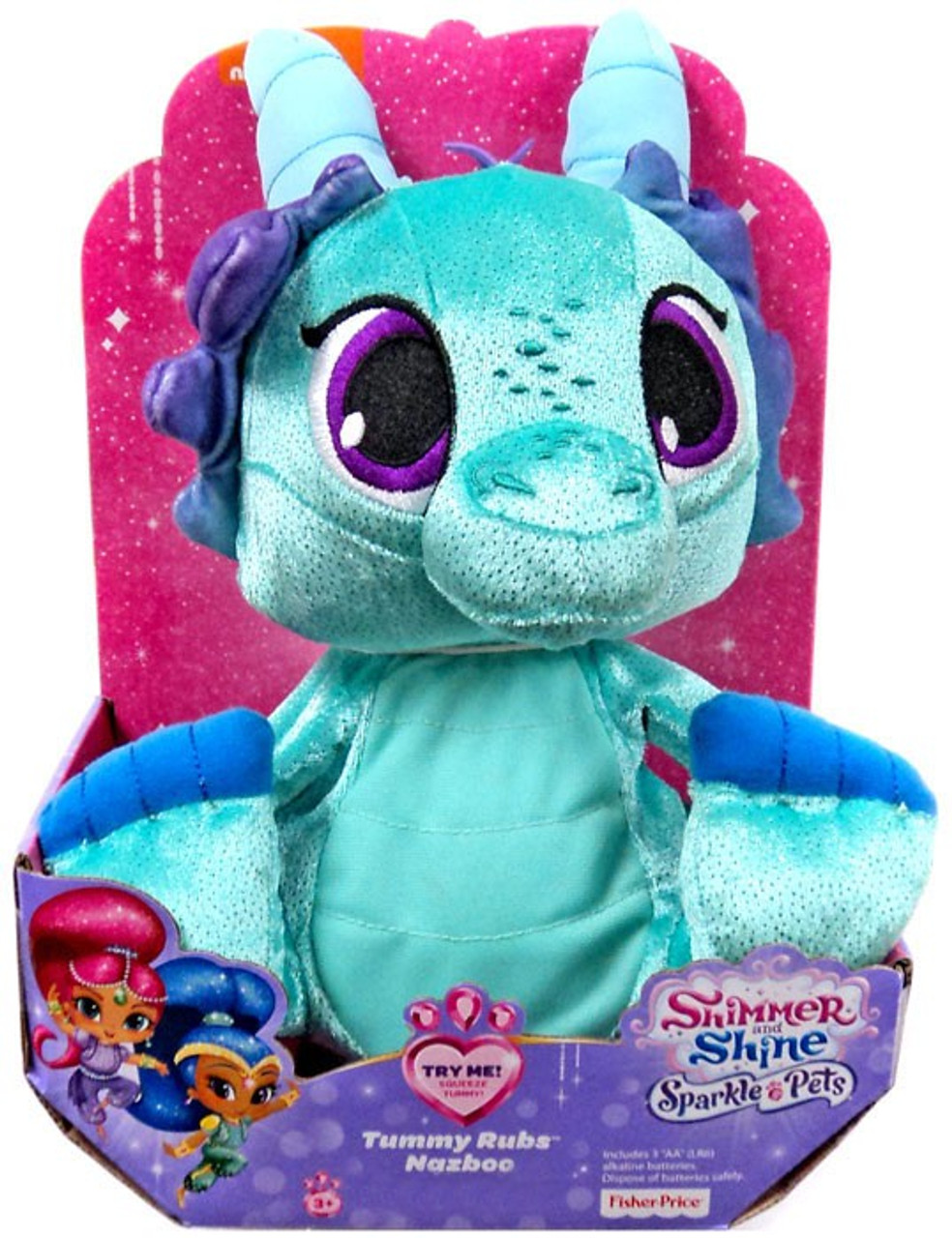 Sparkle Pets Tummy Rubs Nazboo 10-Inch Plush with Sound Shimmer And Shine