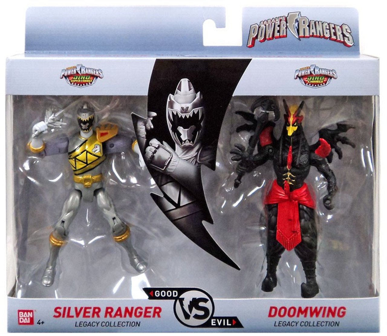 power rangers dino super charge good vs evil silver ranger vs doomwing 5 action figure 2 pack bandai america toywiz usd