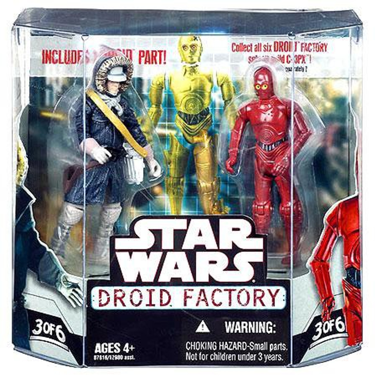 Star Wars Saga 2008 Build-A-Droid Factory Action Figure 2-Pack Han Solo and R-3PO Hasbro Toys Hoth Gear