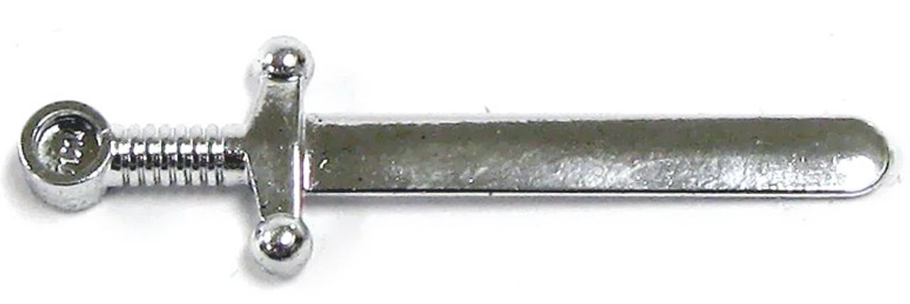 Weapon Sword Greatsword Round @@ CHROME SILVER 2 LEGO 59 @@ Minifig