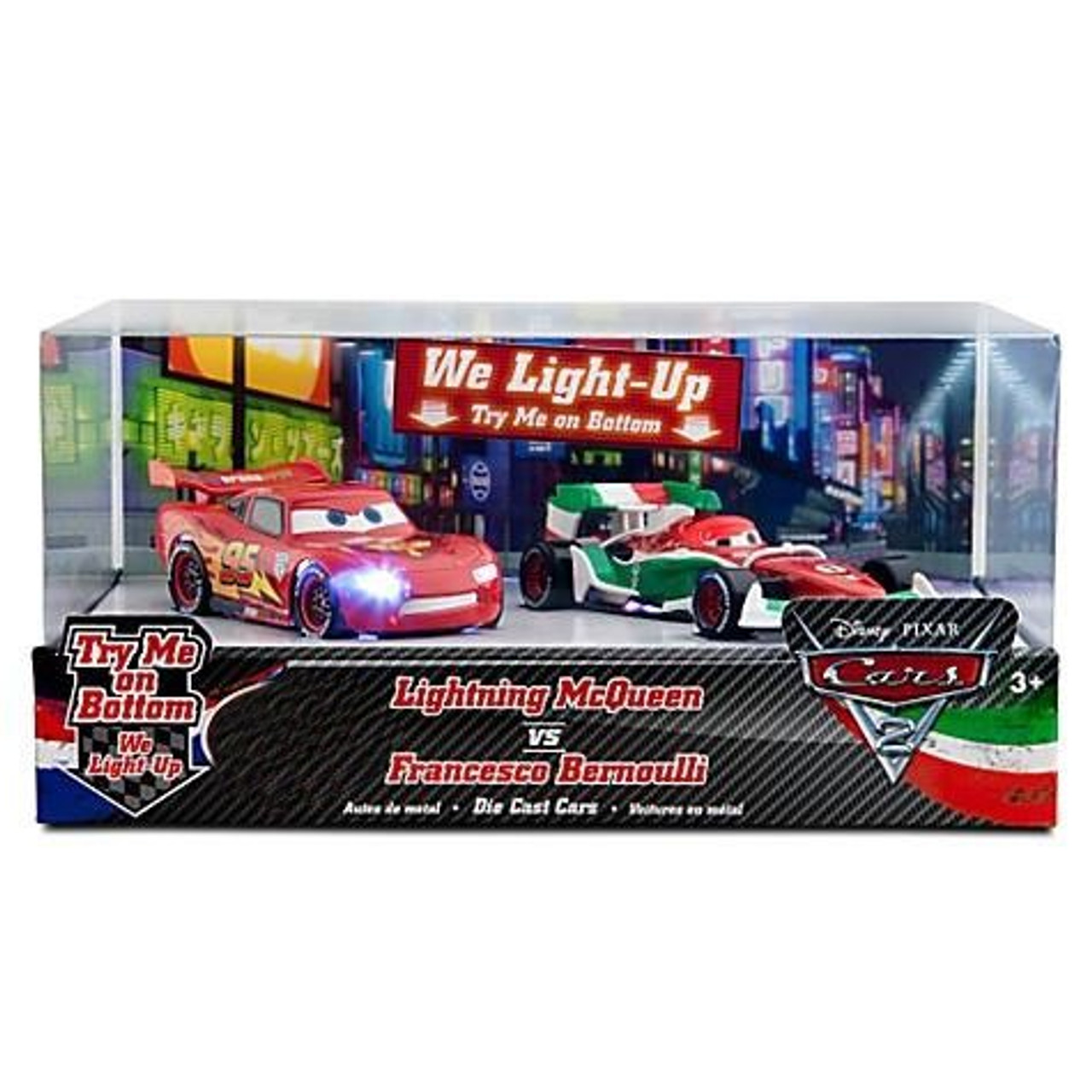 Disney Pixar Cars Cars 2 Light Up Lightning McQueen vs Francesco Bernoulli  Exclusive 143 Diecast Car Set - ToyWiz 626d3c7539af