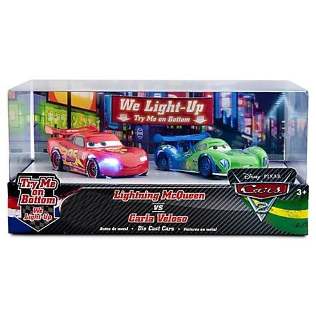 Disney Pixar Cars Cars 2 Light Up Lightning Mcqueen Vs Carla Veloso Exclusive 143 Diecast Car Set Toywiz