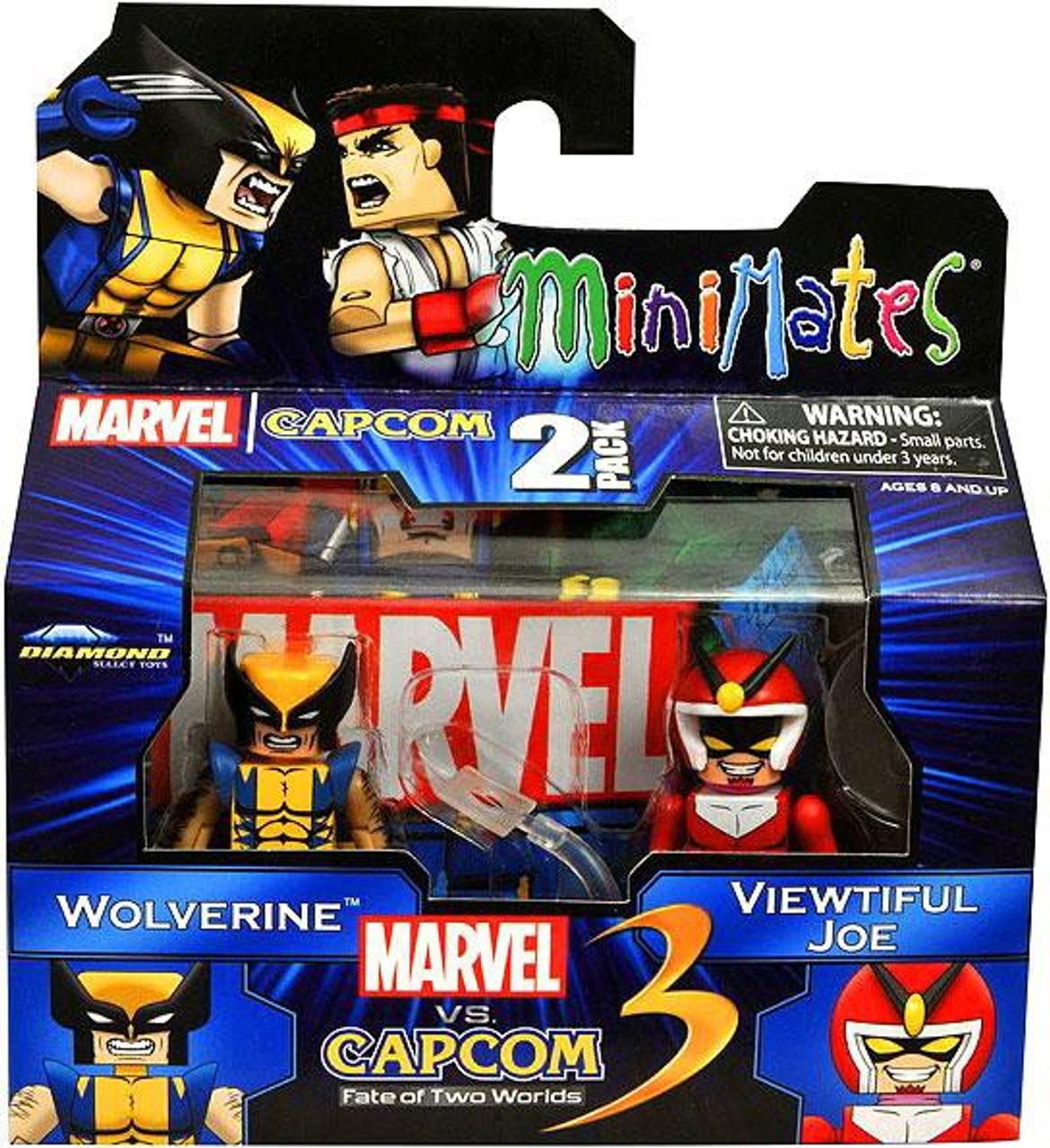 Marvel vs Capcom 3 Minimates Series 2 Wolverine Vs  Viewtiful Joe  Minifigure 2-Pack