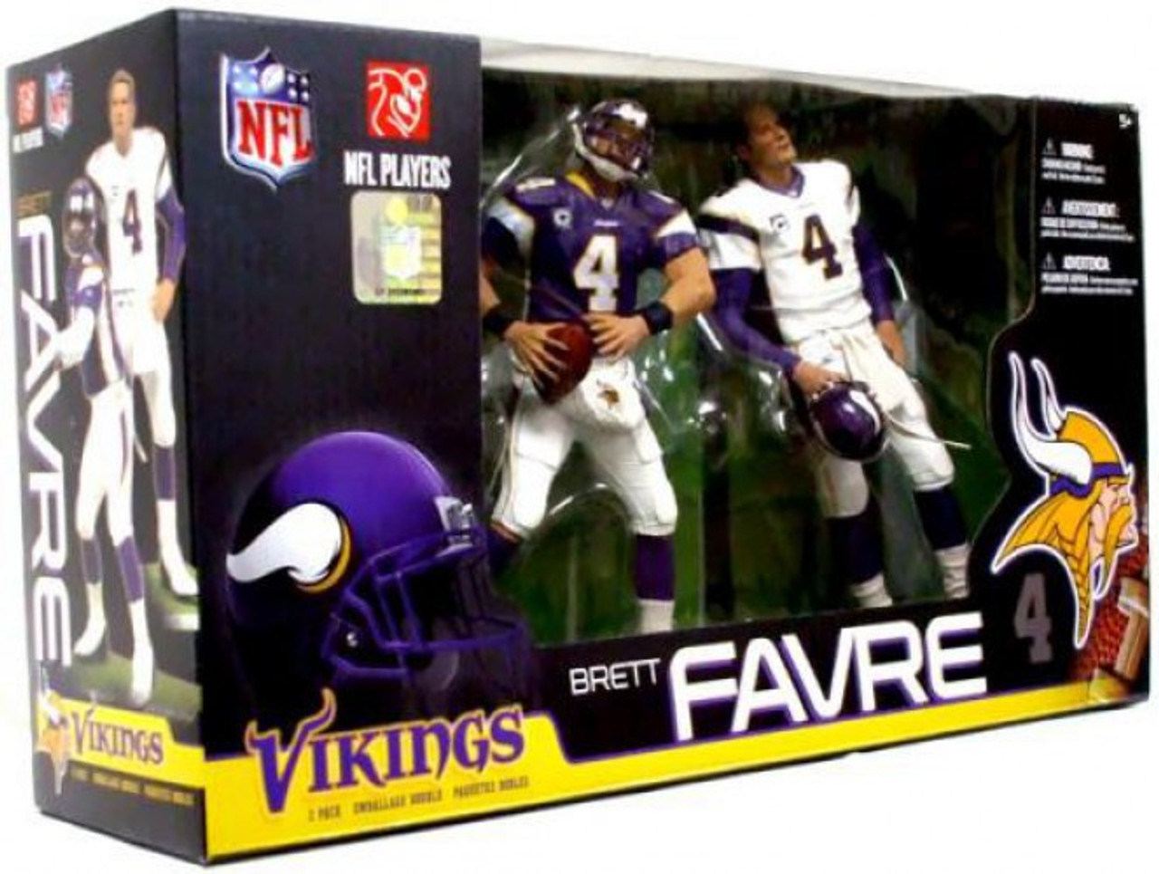 McFarlane Toys NFL Minnesota Vikings Sports Picks Brett Favre Exclusive  Action Figure 2-Pack Purple White Jerseys - ToyWiz f3663c3c3