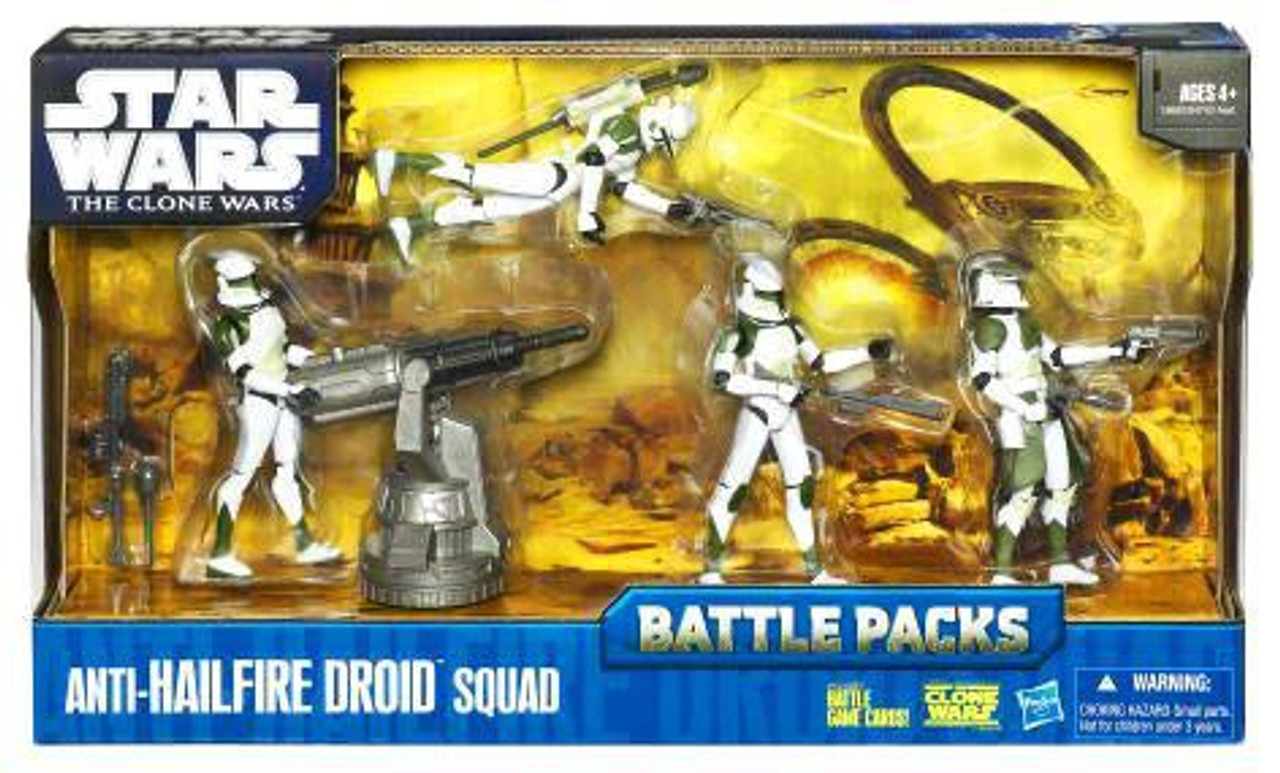 Star Wars The Clone Wars 2010 Battle Packs Anti-Hailfire Droid Squad Action  Figure 4-Pack