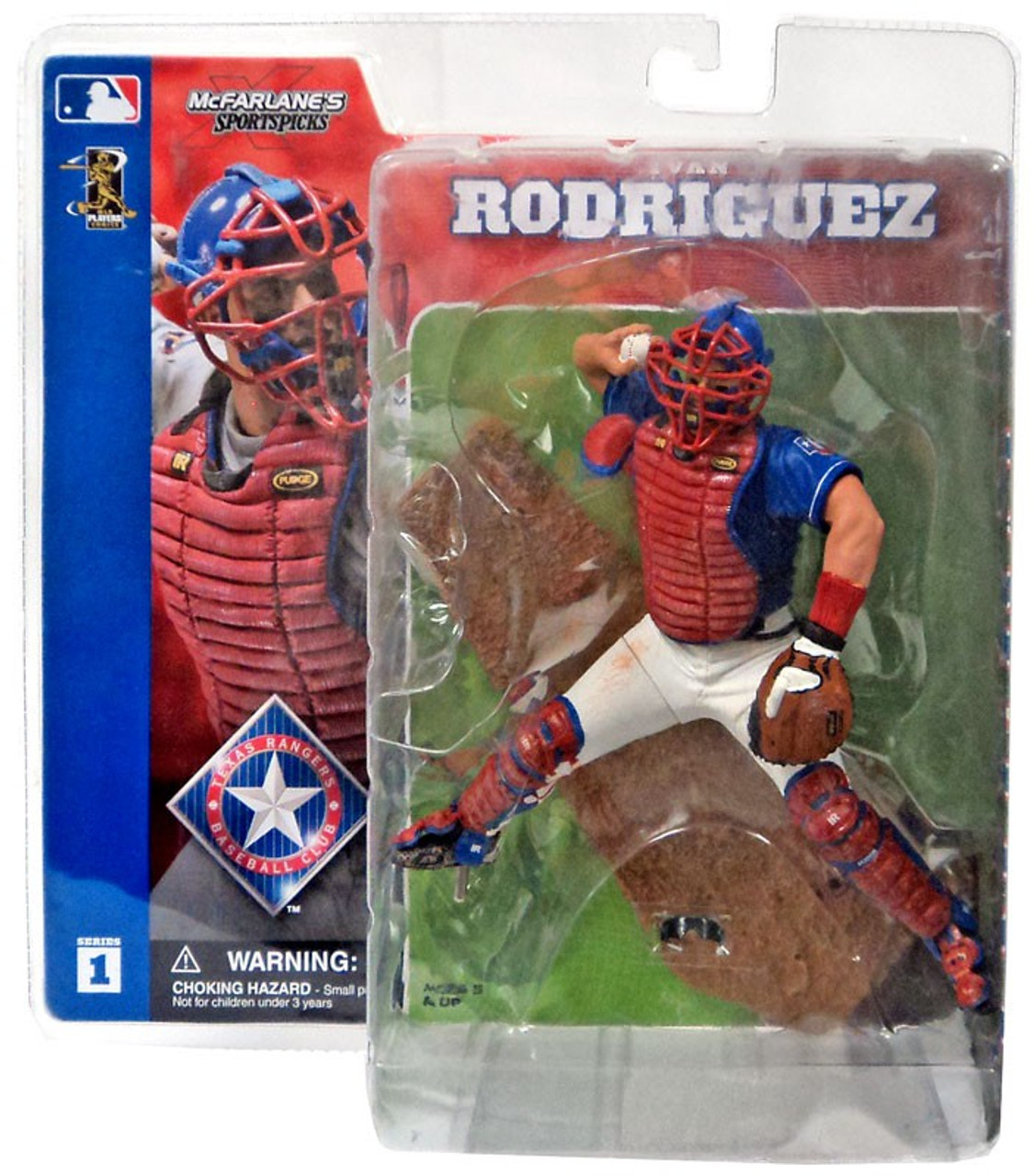 pretty nice b47d5 1820b McFarlane Toys MLB Texas Rangers Sports Picks Series 1 Ivan Rodriguez  Action Figure [Blue Jersey, Damaged Package]
