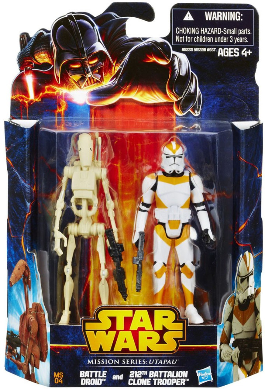Star Wars Revenge Of The Sith 2013 Mission Series Battle Droid 212th Battalion Clone Trooper 3 75 Action Figure 2 Pack Ms04 Utapau Hasbro Toys Toywiz