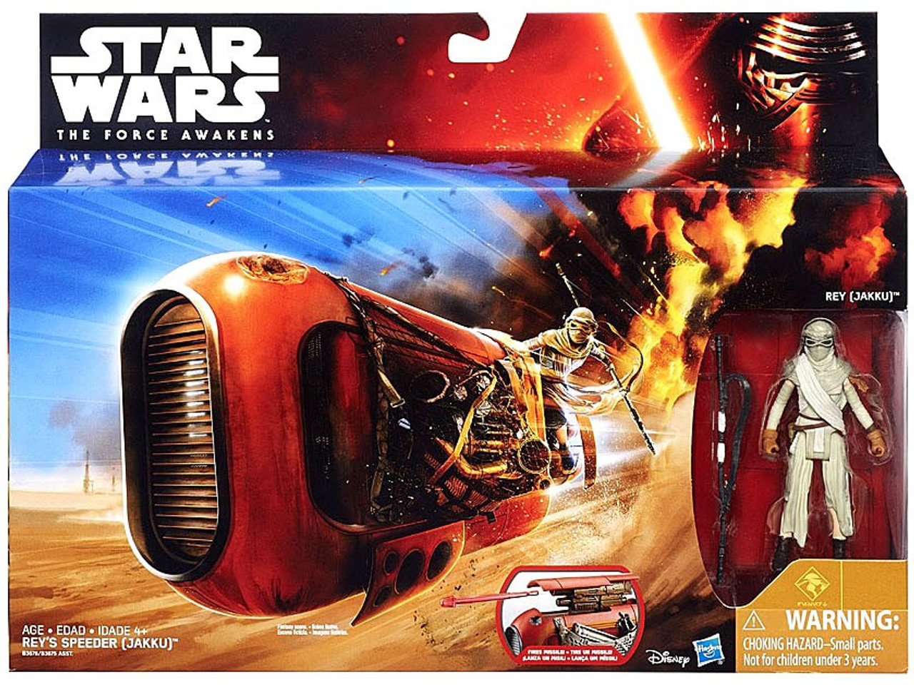 "Figure by Hasbro Jakku Star Wars Force Awakens Rey/'s Speeder /& 3.75/"" Rey"