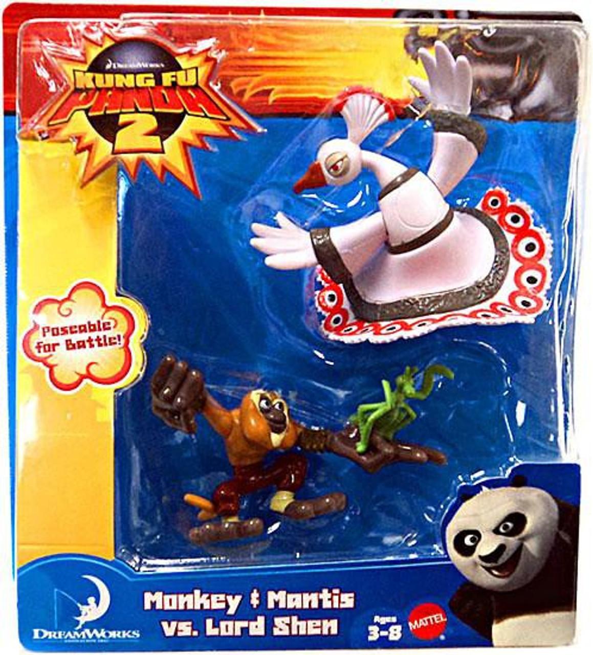 Kung Fu Panda 2 Monkey Mantis Vs Lord Shen Mini Figure 2 Pack Mattel Toys Toywiz