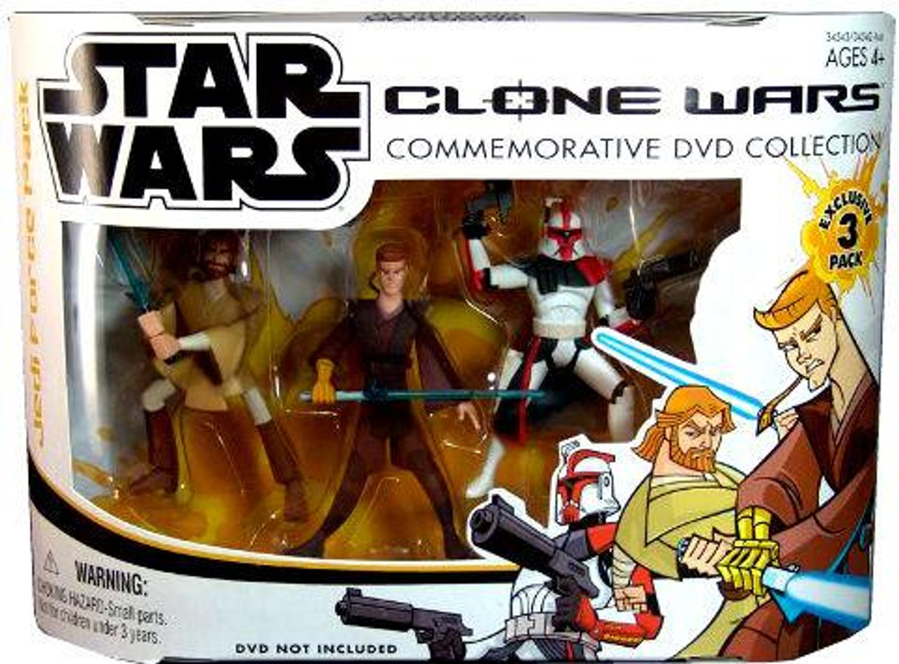 Star Wars The Clone Wars Cartoon Network Clone Wars Commemorative Dvd Collection Exclusive 3 75 Action Figure 3 Pack Set 1 Hasbro Toys Toywiz