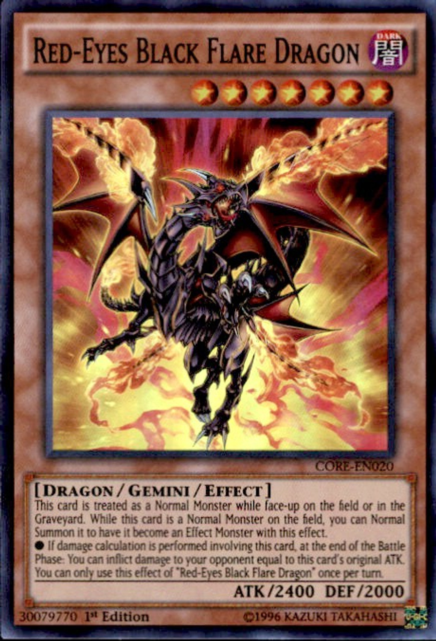 YuGiOh Clash of Rebellions Super Rare Red-Eyes Black Flare Dragon CORE-EN020