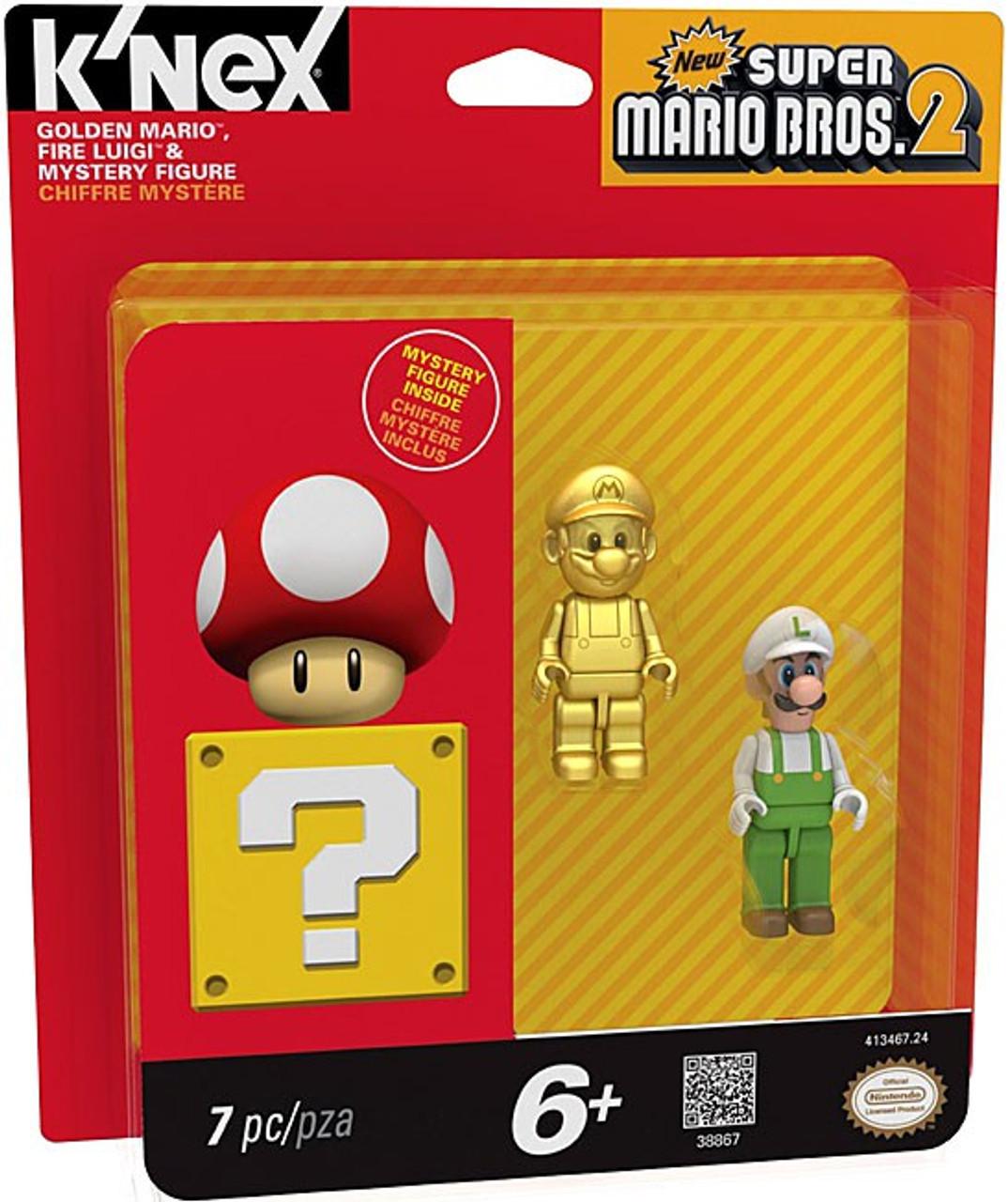 K'NEX New Super Mario Bros 2 Golden Mario, Fire Luigi & Mystery Figure  3-Pack