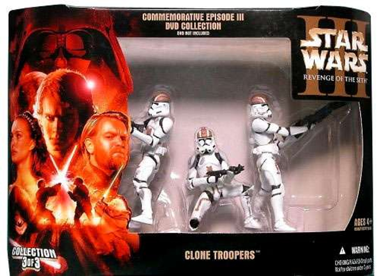 Star Wars Revenge Of The Sith Exclusives Commemorative Episode Iii Dvd Collection Exclusive 3 75 Action Figure Set 3 Of 3 Clone Troopers Hasbro Toys Toywiz