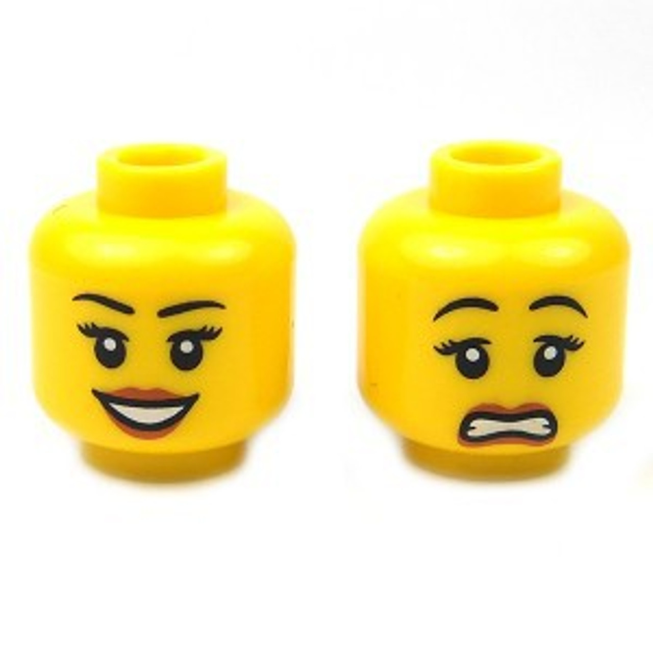 Lego New Minifigure Head Female with Open Smile Red Lips and Beauty Mark Girl