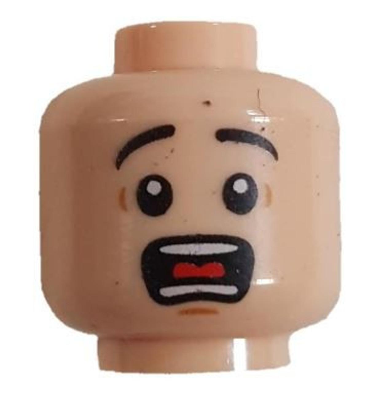 Lego Yellow Minifig Head x 1 Black Beard Stubble /& Moustache Scared Face Pattern