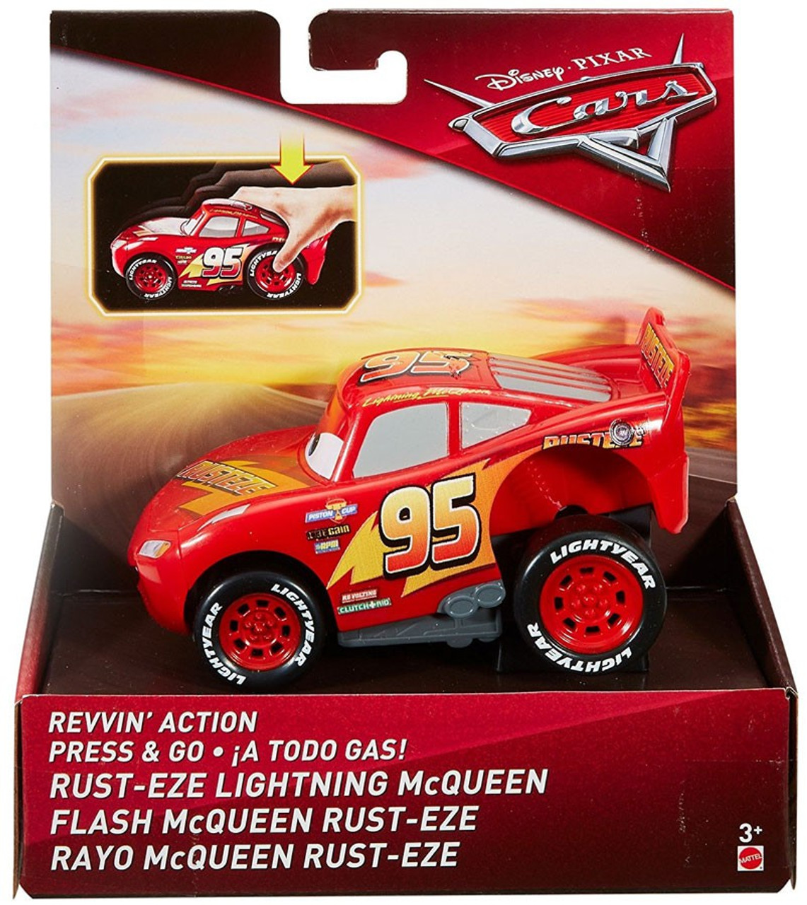 Disney Pixar Cars Cars 3 Revvin Action Rust Eze Lightning Mcqueen