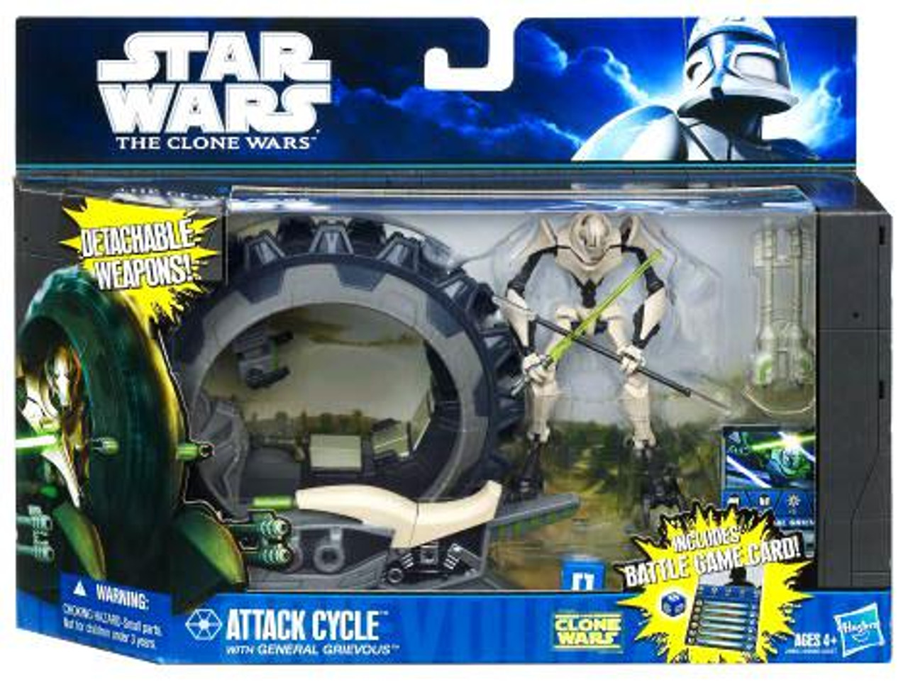 Star Wars The Clone Wars Attack Cycle With General Grievous 3 75 Vehicle Action Figure Hasbro Toys Toywiz