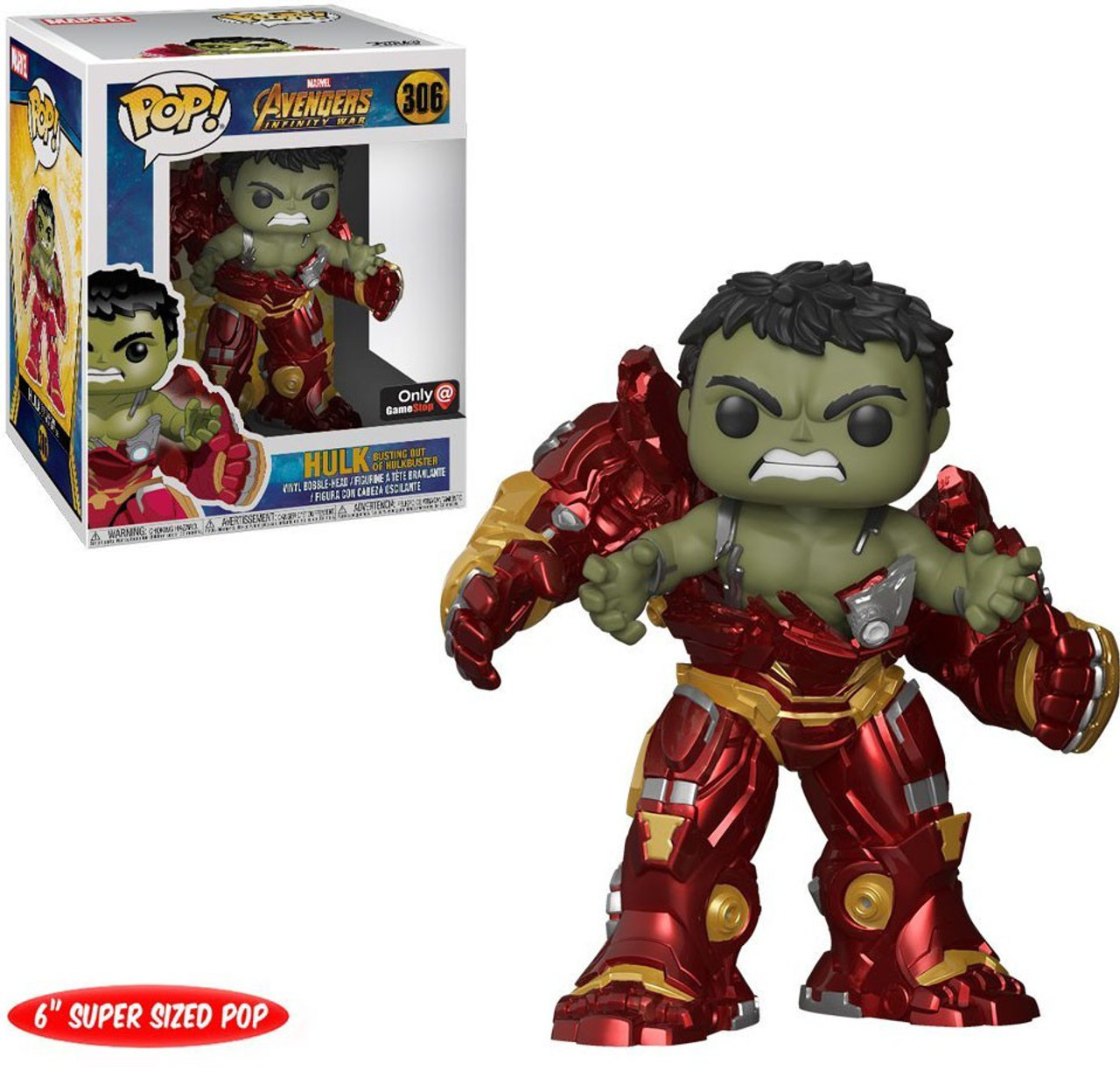 Avengers Infinity War Funko Pop Marvel Hulk Busting Out Of Hulkbuster Exclusive 6 Inch Vinyl Figure 306 Super Sized