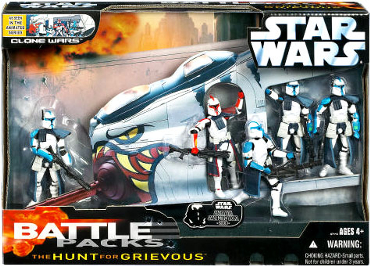 Star Wars The Clone Wars Battle Pack The Hunt for Grievous Exclusive Action  Figure Set