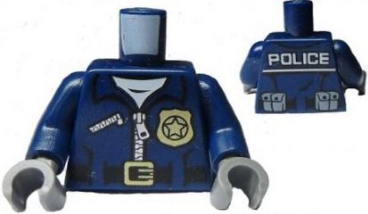 LEGO City Police Black Minifigure Torso with Zipper Jacket and Badge