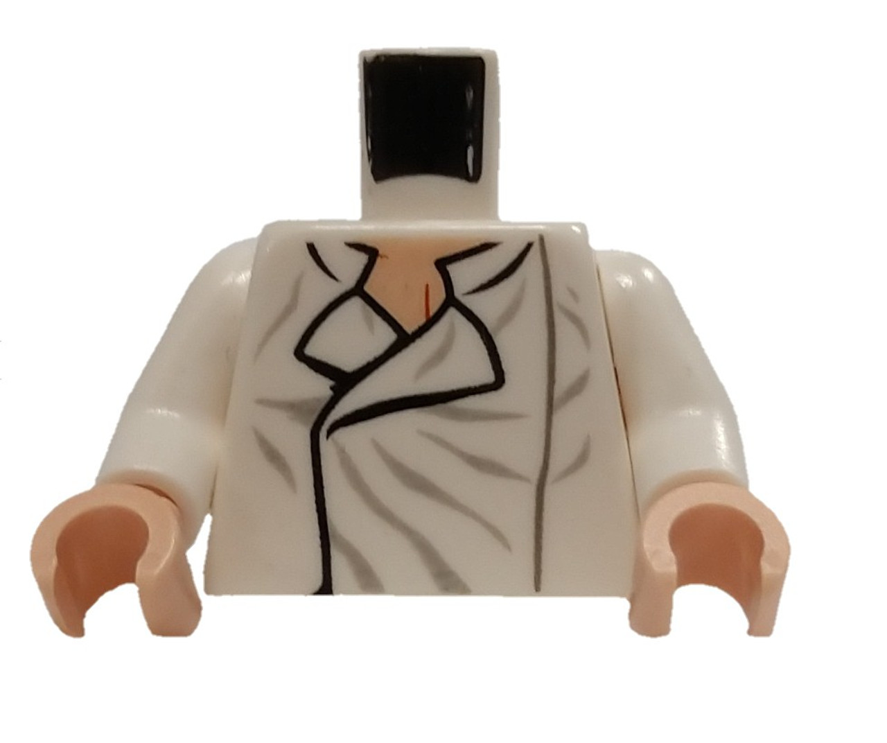 LEGO NEW WHITE MINIFIGURE TORSO OPEN COLLAR SHIRT WITH WRINKLES FLESH HANDS