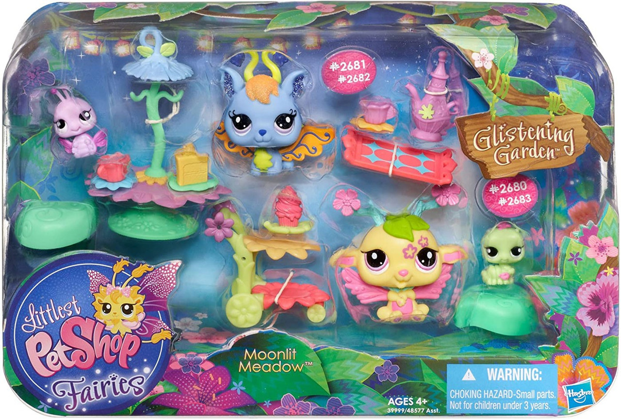 Littlest Pet Shop Fairies Glistening Garden Moonlit Meadow Figure Set 2680  2681  2682  2683