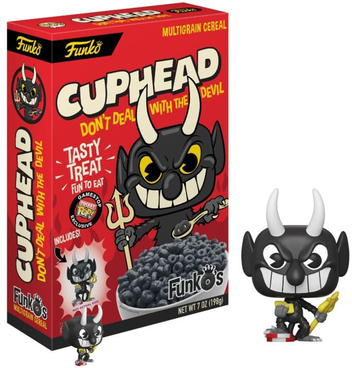 FunkOs Cuphead Exclusive 7 Oz. Breakfast Cereal Red Box