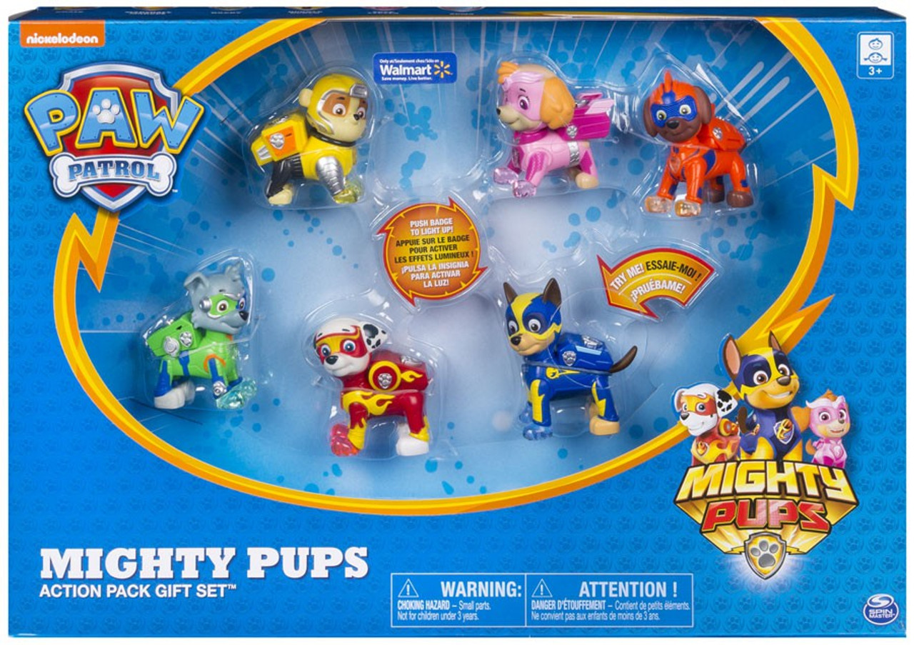 Rocky Paw Patrol Mighty Pups Super Paws Marshall Rubble Chase Figure Skye