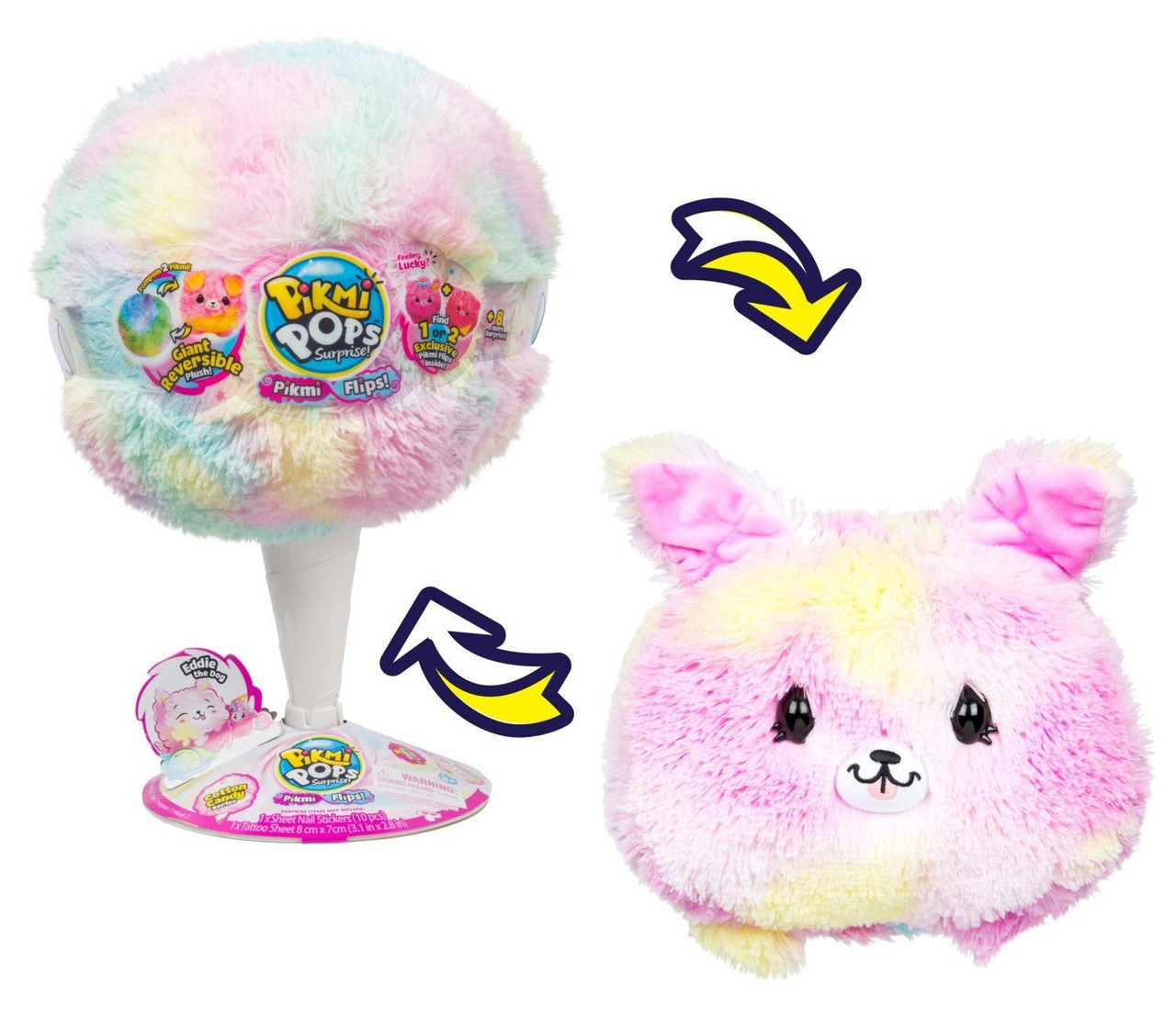 Pikmi Pops Surprise Giant Flips Eddie The Dog Mystery Pack Reversible Scented Plush