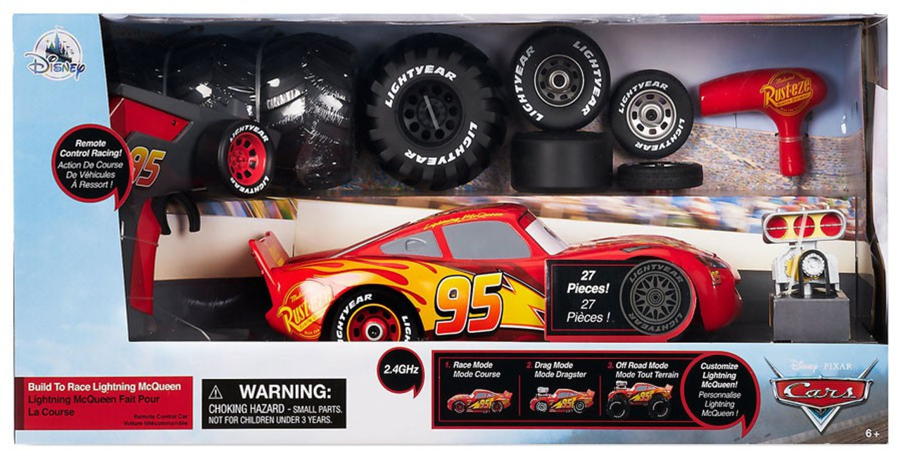 Disney Pixar Cars Build to Race Lightning McQueen Exclusive RC Remote Control Car - ToyWiz