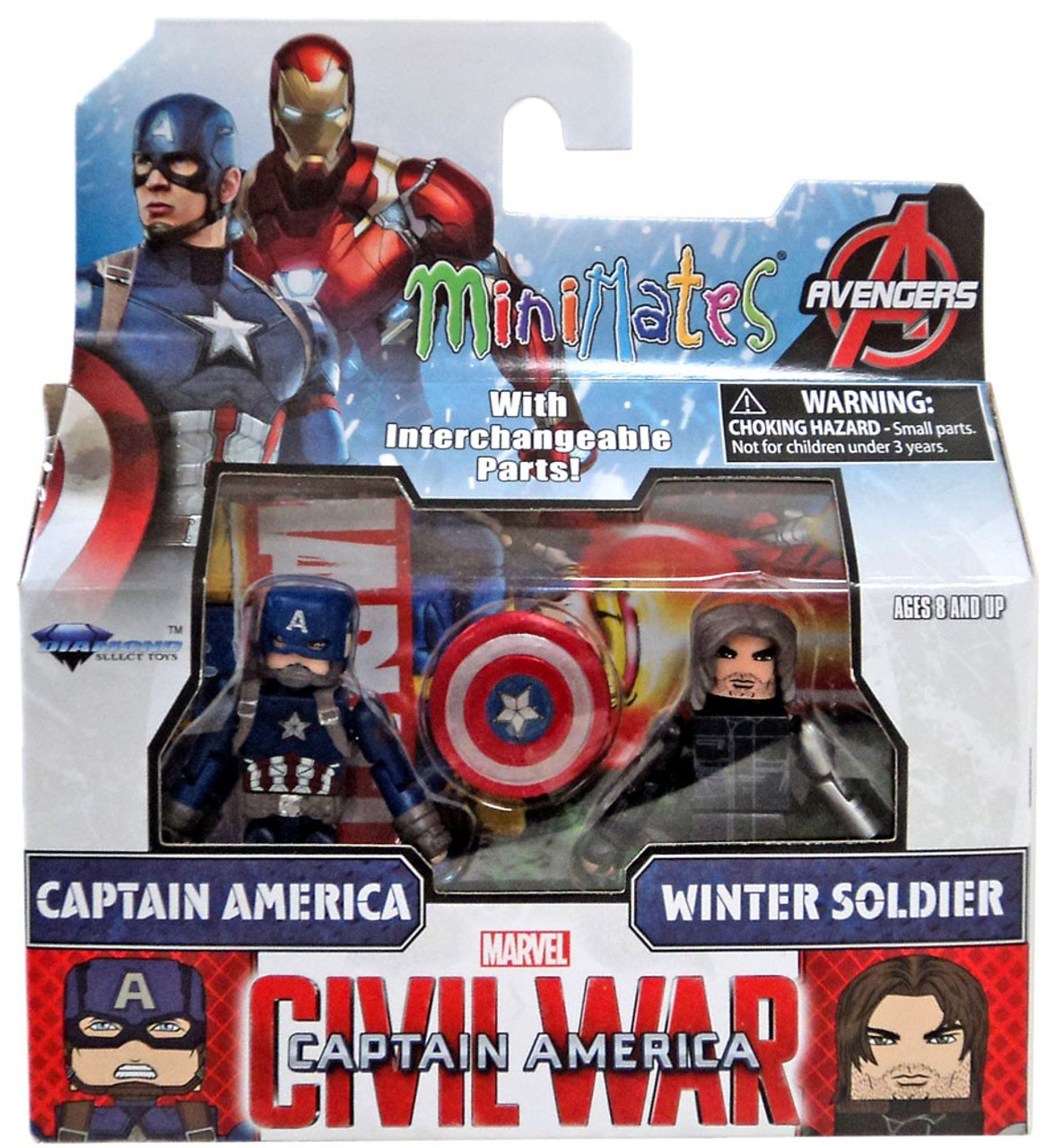 Roblox Winter Soldier Shirt Marvel Captain America Civil War Minimates Captain America Winter Soldier Minifigure 2 Pack Diamond Select Toys Toywiz