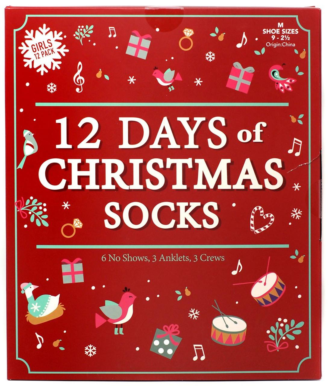 Origin Of 12 Days Of Christmas.12 Days Of Socks Girls 12 Days Of Christmas Socks 12 Pack Shoe Sizes 9 2 5
