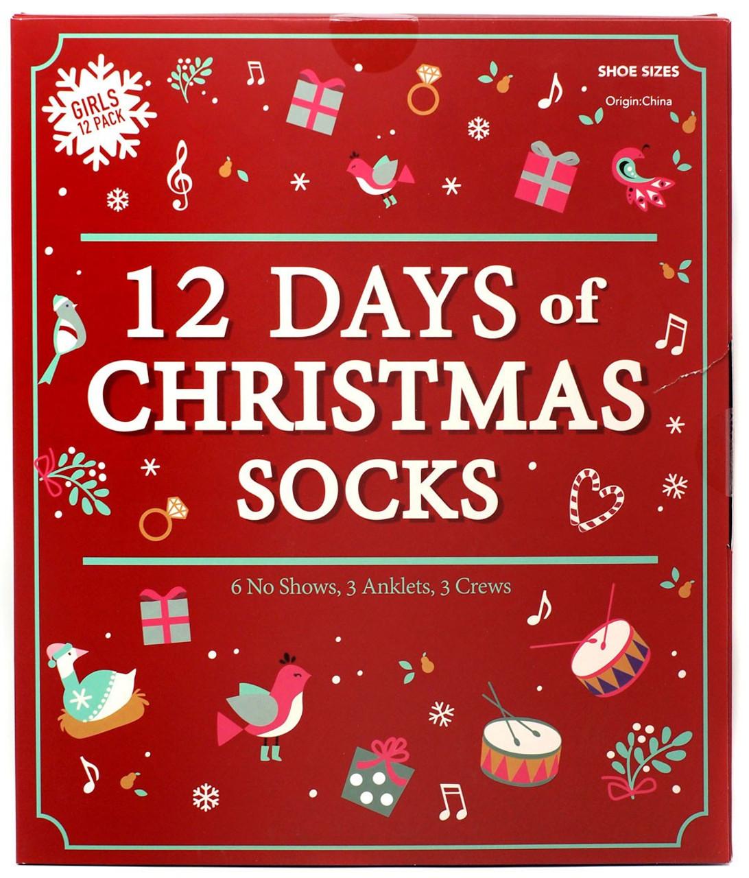 12 Days Before Christmas.12 Days Of Socks Girls 12 Days Of Christmas Socks 12 Pack Shoe Sizes 5 5 8 5