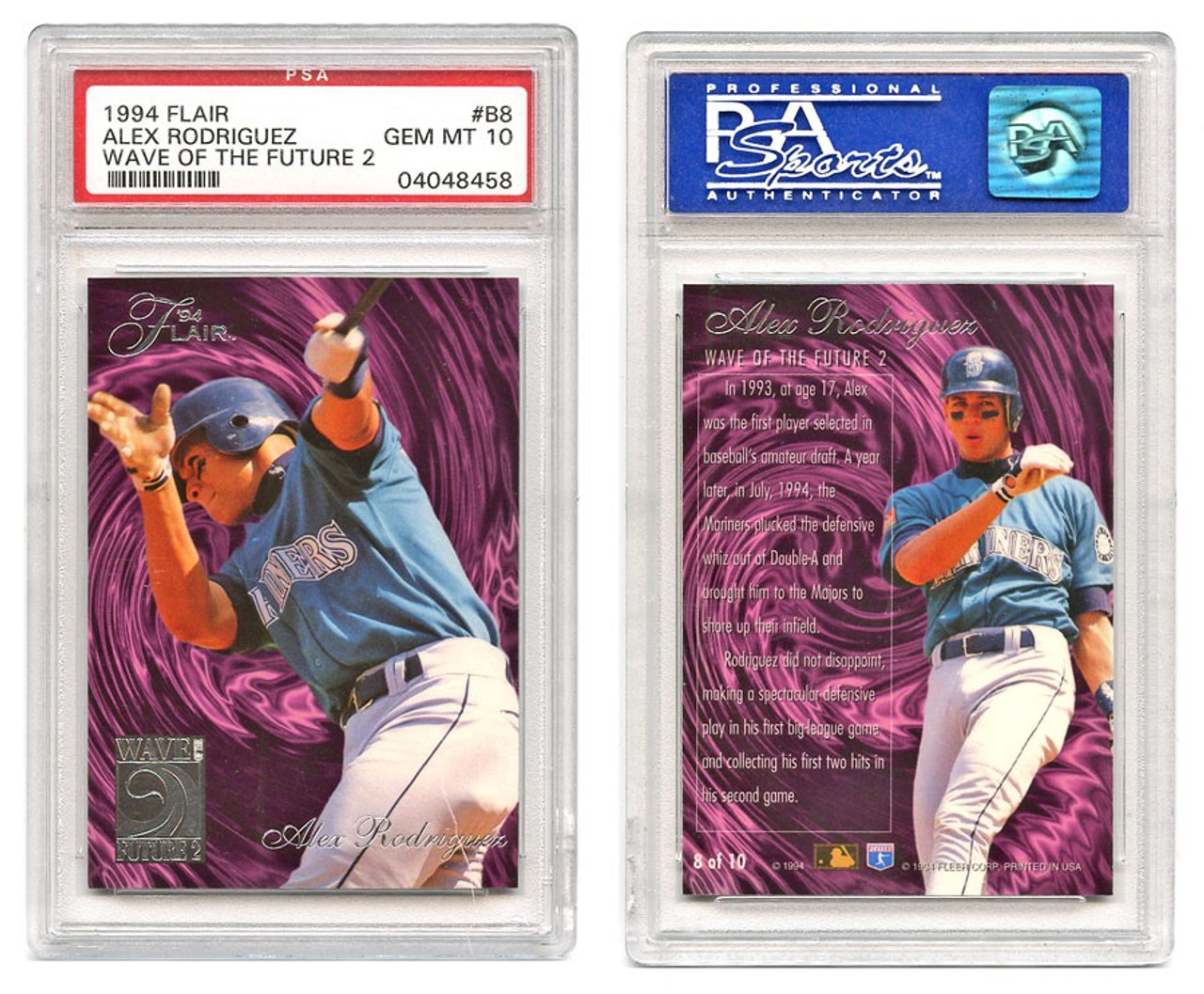 Mlb 1994 Flair Alex Rodriguez Trading Card Wave Of The Future 2 Gem Mint 10