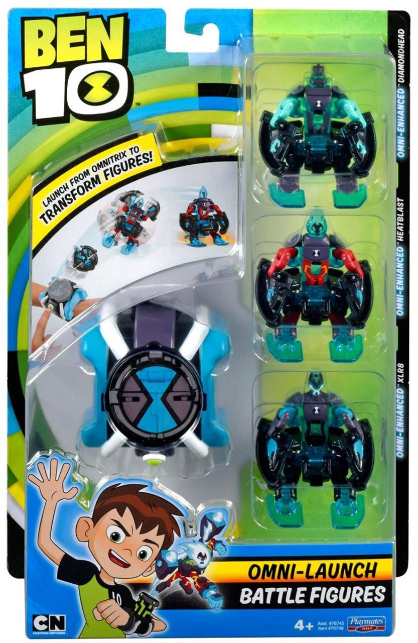 Ben 10 Omni Launch Xlr8 Heatblast Diamondhead Battle Figures Playmates Toywiz