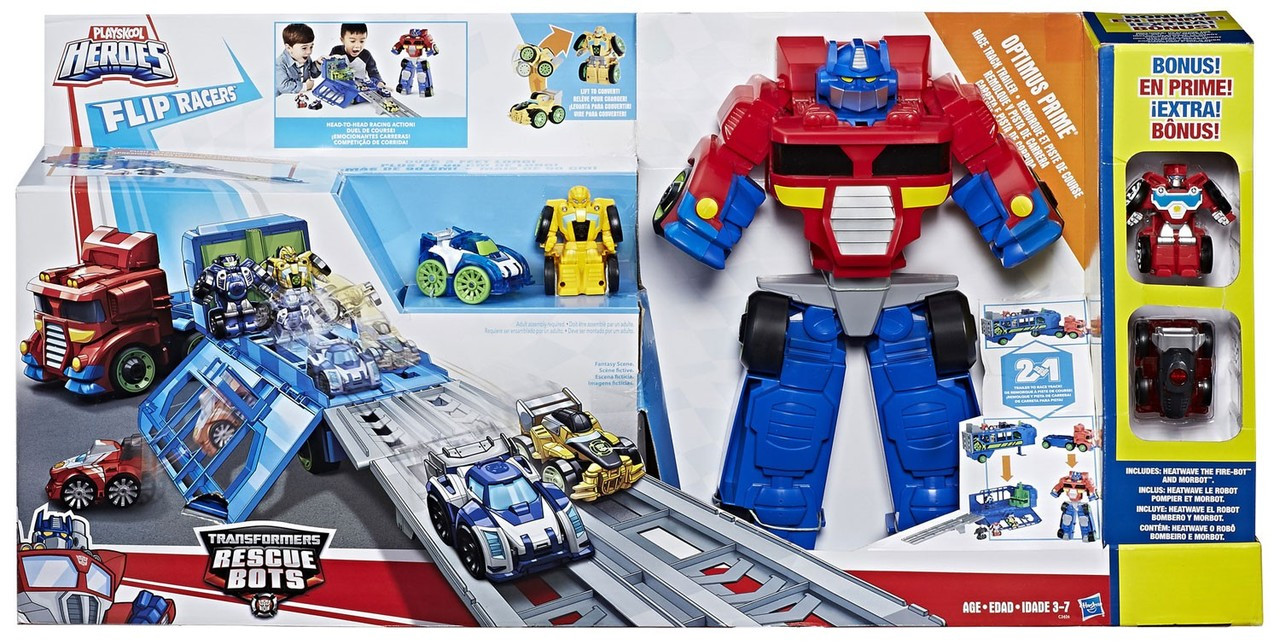 Transformers Rescue Bots Race Track Trailer Optimus Prime 2017 Figure